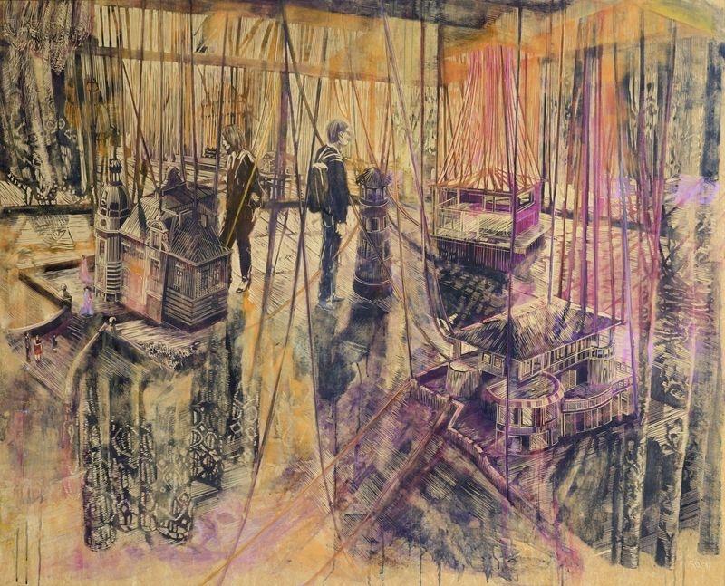 Schoenerwohnen-2017-132-x-162-cm-Linoleum--Alkydfarbe