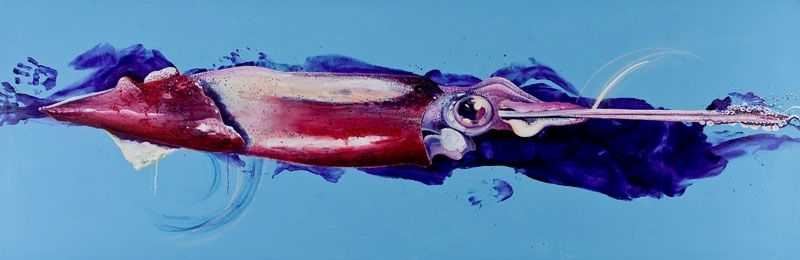 Der-Schwimmer-2010-OlAcryl-Lwd-100x300cm